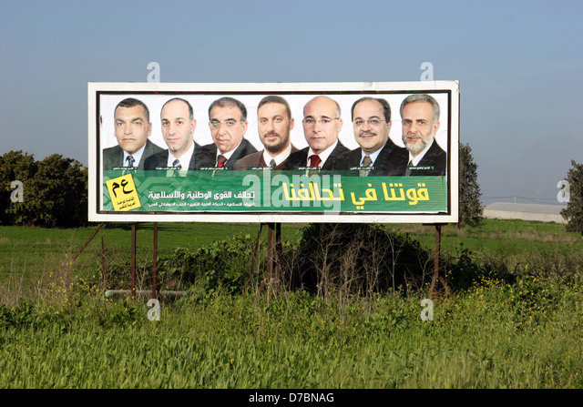 political party of United Arab List - Arab Renewal, elections 2006 - Stock Image