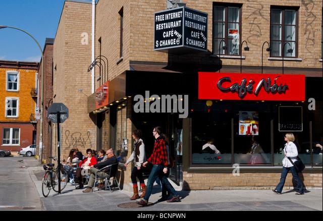 Coffee shop on Boulevard Saint Laurent Montreal Quebec Canada - Stock Image