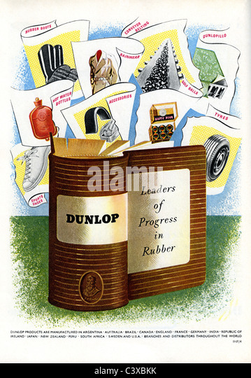 Advertisement for Dunlop, from The Festival of Britain guide, published by HMSO. London, UK, 1951 - Stock-Bilder