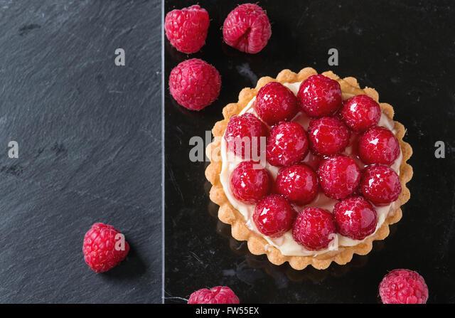 Tartlet with raspberries - Stock Image