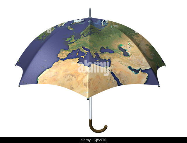 umbrella with globe imprint - Stock Image