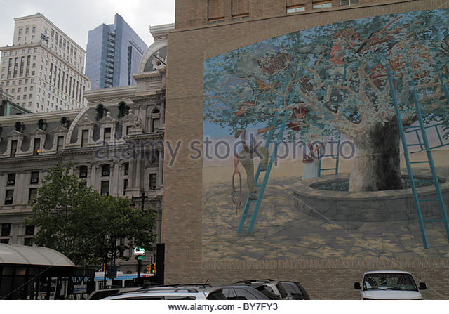Philadelphia Pennsylvania Market Street City of Murals Penn Square Mural Arts Program Tree of Knowledge mural painting - Stock Image