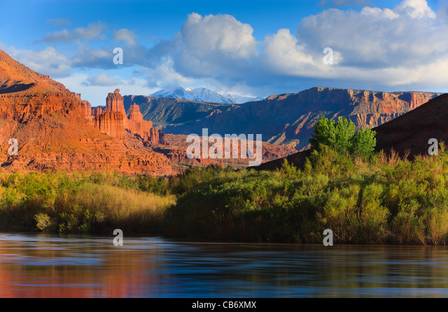 The Fisher Towers at sunset, Moab, Utah - Stock Image