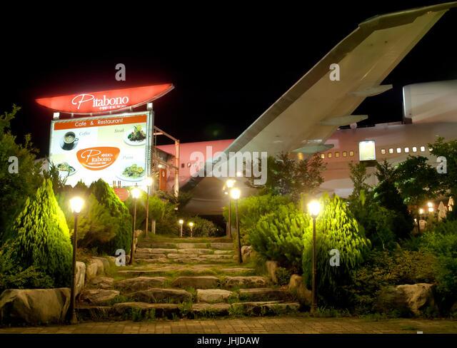 unusual restaurant in airplane fuselage in Daegu - Stock Image