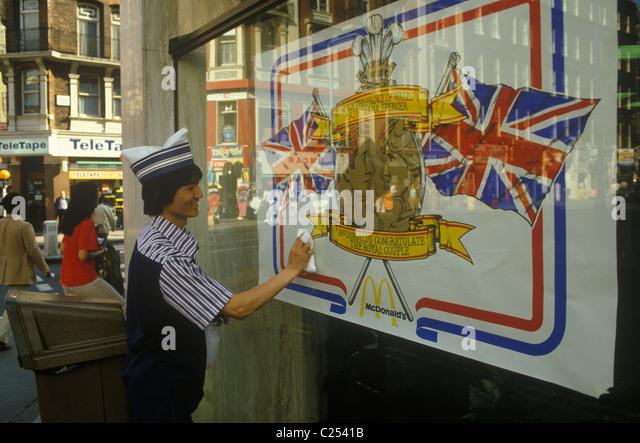 Royal Wedding Prince Charles Lady Di Diana Spencer wedding poster in shop window. London UK HOMER SYKES - Stock Image