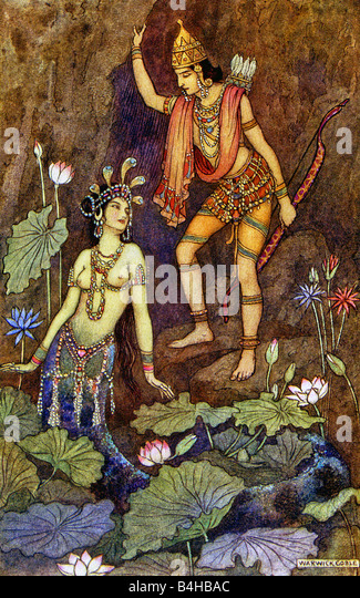 Arjuna and River Nymph - Stock Image