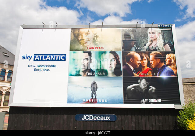 Sky Atlantic 48 sheet poster advertising billboard on JCDecaux site in Newport, South Wales, UK - Stock Image