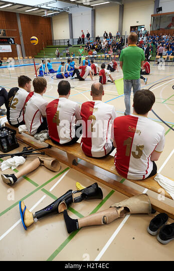 Disabled sport, sitting volleyball, game between Germany and Iran, Koblenz, Rhineland-Palatinate, Germany - Stock Image