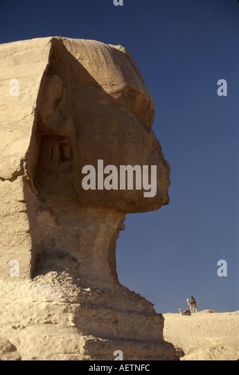 Egypt Cairo Giza District Sphinx face of Pharaoh Khephren lion body rock carving 190 feet long 66 feet high - Stock Image