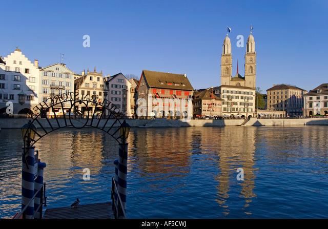 Switzerland Zurich Grossmuentser kathedral Zuerich Grossmuenster - Stock Image