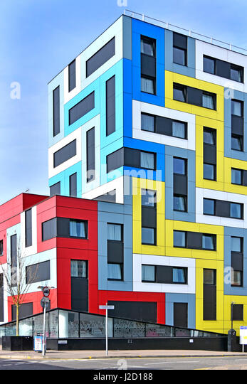 Colors colours on University of Essex  student accommodation color colour in rectangles in modern colourful geometric - Stock Image