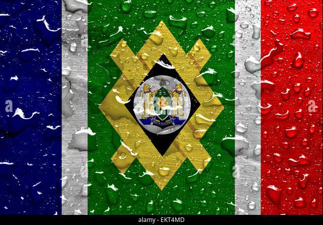flag of Johannesburg with rain drops - Stock Image