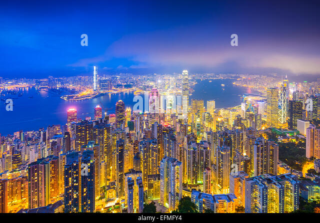 Hong Kong, China skyline over Victoria Harbor. - Stock Image