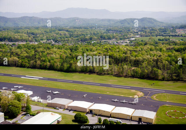 Tennessee Sevierville Gatlinburg Pigeon Forge Airport aerial runway - Stock Image