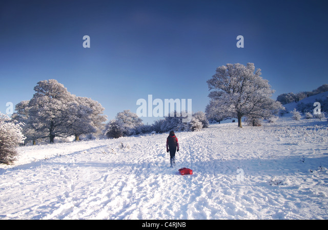 girl with sledge in snow - Stock-Bilder