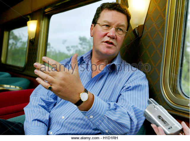 AUSTRALIAN MINISTER FOR FOREIGN AFFAIRS ALEXANDER DOWNER ON THE GHAN NEAR AUSTRALIA'S TOWN OF KATHERINE.  Australian - Stock Image