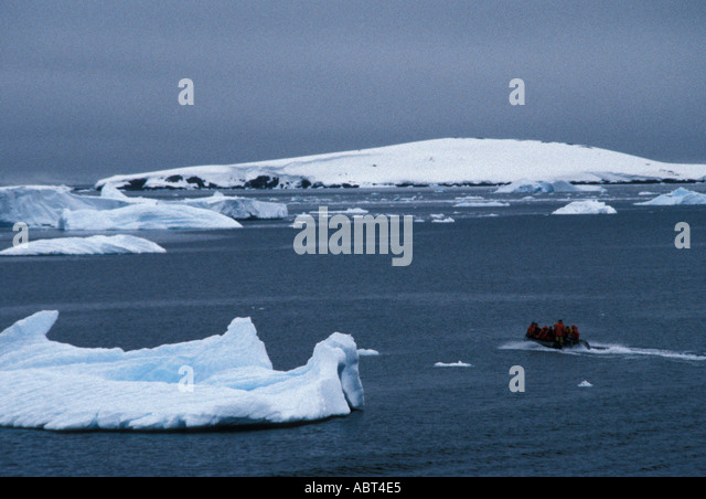 ANTARCTICA Zodiac Landing at Cuverville Island - Stock Image