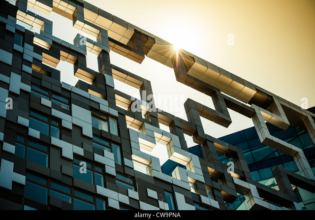 The Cube building, Birmingham, England, at sunset - Stock Image