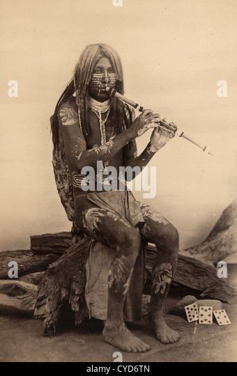 Yuma musician, Arizona, native American Indian playing a flute - Stock Image