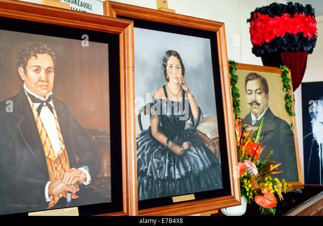 Hawaii Hawaiian Honolulu Kawaiahao Church historic inside royal portraits - Stock Image