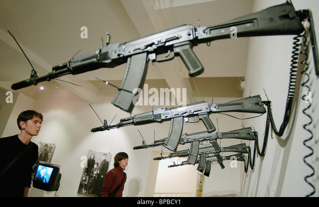 Artist and Weapons international exhibition held in Moscow - Stock Image