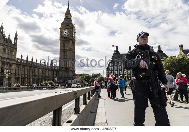 London, UK. 7th June, 2017. On the final day of campaigning before Britain goes to the polls on June 8, extra security - Stock Image