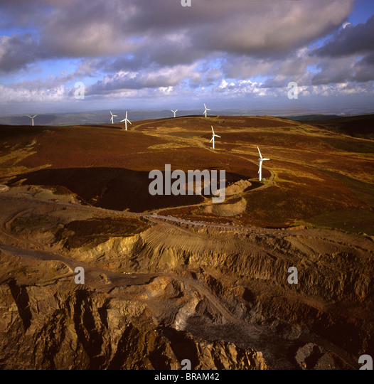 Aerial image of wind farm at Kirkby Moor, Cumbria, England, United Kingdom, Europe - Stock Image