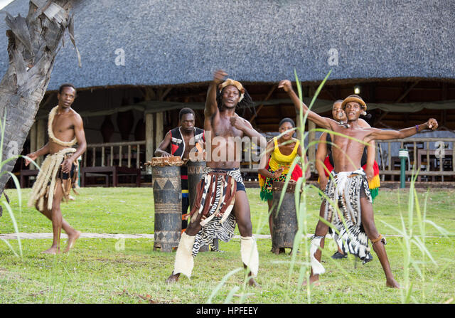 Traditional dance for tourists, Victoria Falls, Zimbabwe - Stock Image