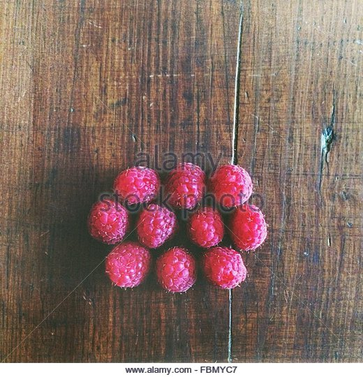 Elevated View Of Raspberries - Stock Image