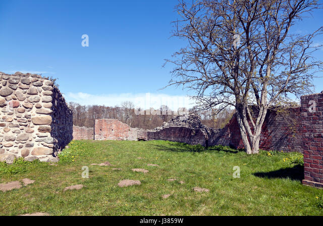 Interior of the Gurre Castle Ruin, a Royal castle from the 12th century in North Zealand near Elsinore in Denmark - Stock Image