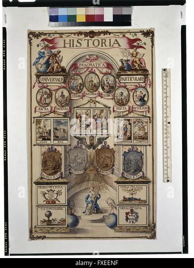 Cod. Min. 33a, Bd. 1, Taf. 28: Institutio archiducalis (Anschauungsunterricht für Erzhzg. Ferdinand): Historia - Stock Image