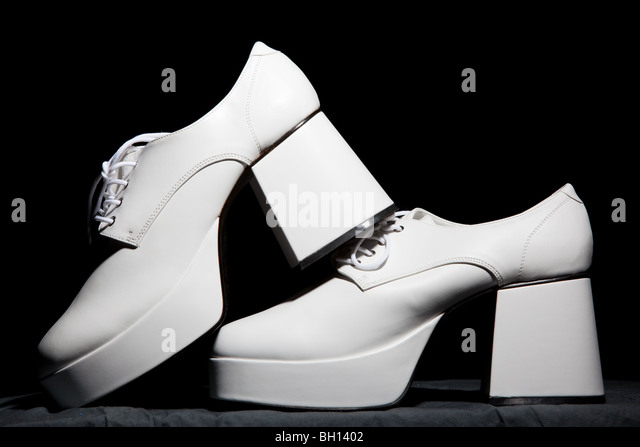 Mens white platform shoes - Stock-Bilder