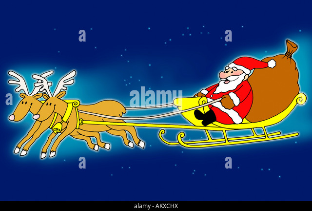 Reindeer and sleigh with presents outdoor christmas decoration stock - Reindeer Sleigh Stock Photos Amp Reindeer Sleigh Stock