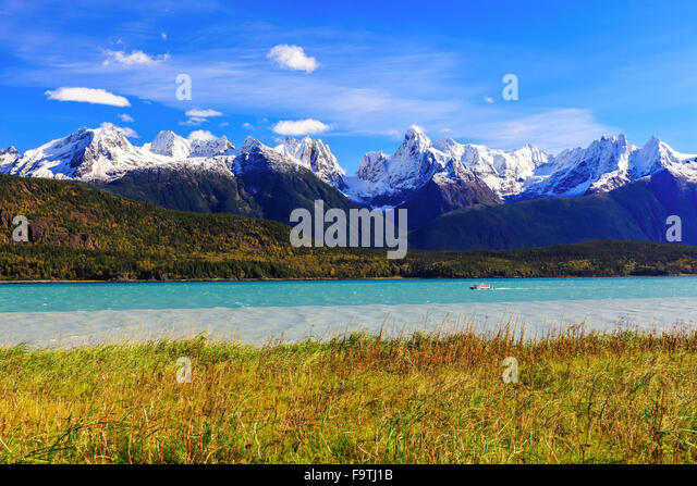 Skagway, Alaska. Chilkat Peninsula, Chilkat Inlet and the Sinclair Mountain in the background. - Stock Image