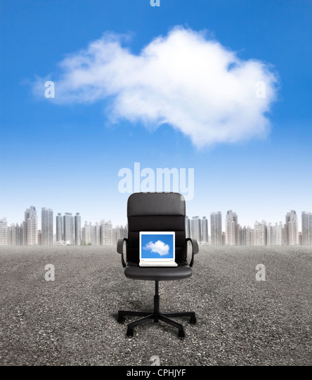 computer on the office chair and business cloud computing concept - Stock Image