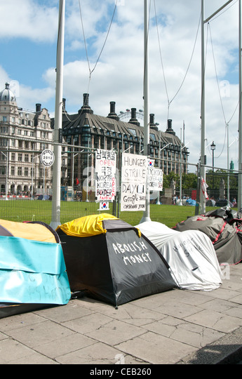 Protest camps at Parliament Square, London. - Stock Image