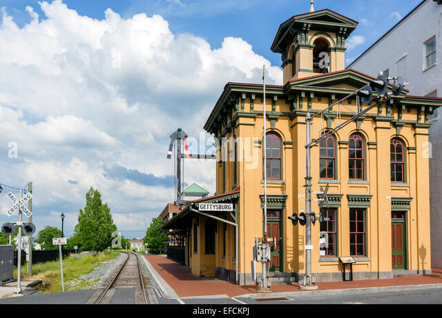 Historic Gettysburg Train Station in downtown Gettysburg, Adams County, Pennsylvania, USA - Stock Image