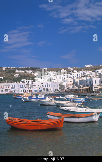 Greece Mykonos Harbor Harbour fishing boats - Stock Image