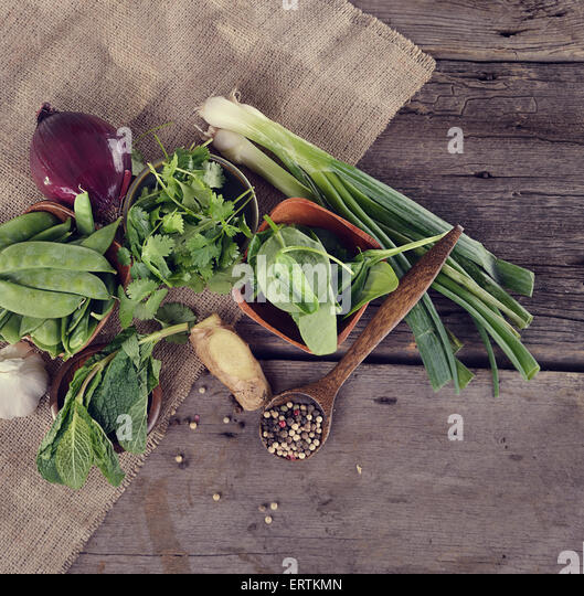 Cooking Ingredients on Wooden Surface - Stock Image