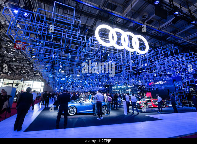 View of Audi stand at Paris Motor Show 2016 - Stock-Bilder
