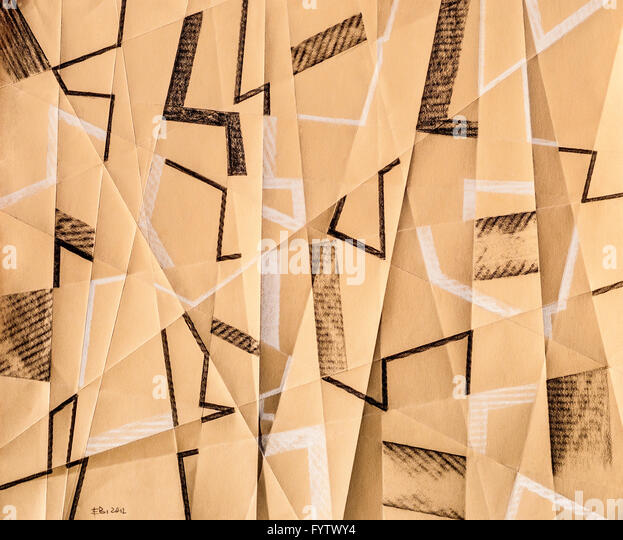 "Modern abstract Conte crayon drawing ""Shatter No.2"" on folded paper by Ed Buziak - France. - Stock Image"