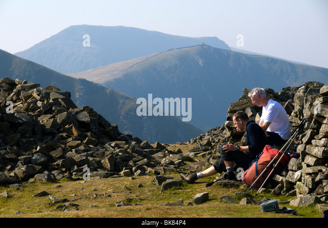 Craig Cwm Silyn and Mynydd Tal-y-mignedd from the summit of Y Garn, Nantlle Ridge, Snowdonia, North Wales, UK - Stock Image