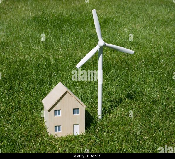 Model house and wind turbine - Stock Image