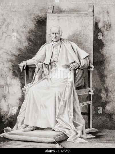 Pope Leo XIII, 1810 ? 1903, born Vincenzo Gioacchino Raffaele Luigi Pecci, after the painting by Theobold Chartran - Stock-Bilder