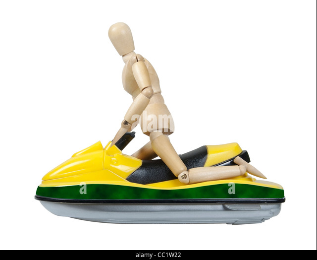 Riding a Sport Ski jet used for having fun on the water - path included - Stock Image
