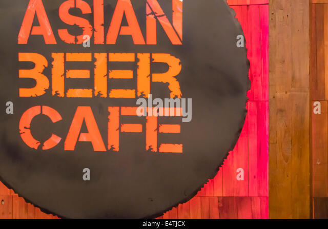 Melbourne Australia Victoria Central Business District CBD Central Dome center centre mall Asian Beer Cafe sign - Stock Image