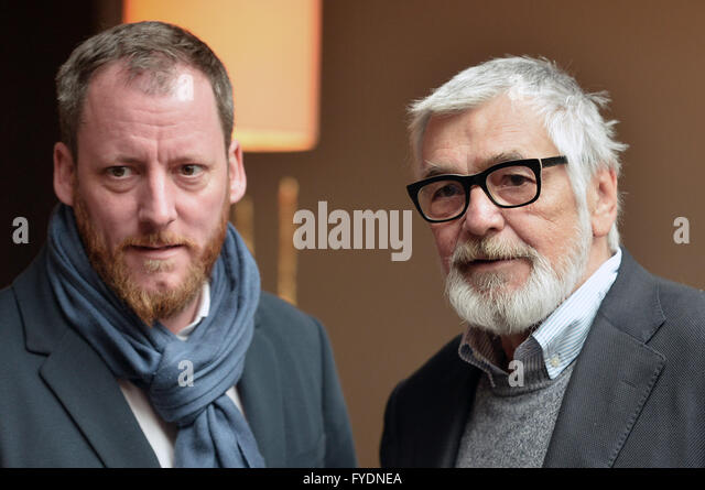 Prague, Czech Republic. 26th Apr, 2016. Karlovy Vary International Film Festival President Jiri Bartoska (right) - Stock-Bilder