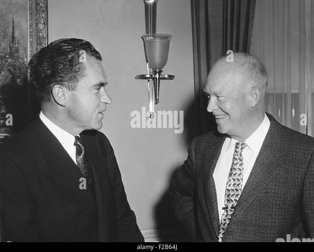 President Eisenhower and Vice President Nixon during the 1956 Presidential Campaign. They discussed Nixon's - Stock Image