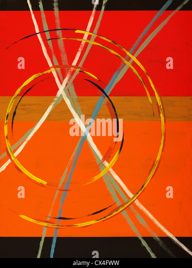 An abstract painting with arcs, circles and stripes - Stock Image