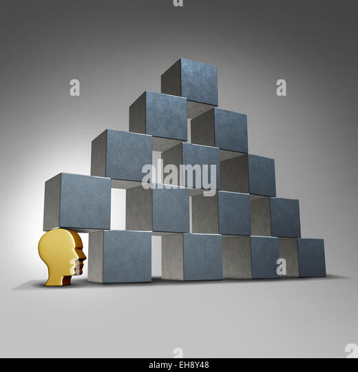Essential services and crucial support concept as a head icon supporting a group of blocks in a pyramid formation - Stock-Bilder